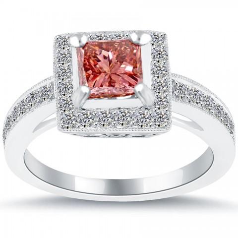1 75 carat fancy pink princess cut engagement ring